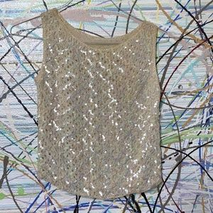 1960s Vintage sequin cream knit tank Size Small